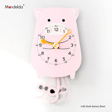 Modern European-style Novelty Wall Clock Lovely Pink Pig Cartoon Retro Rustic Wooden Living Room Clocks