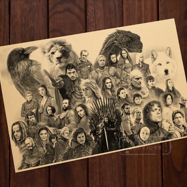 Pencil Sketch Cartoon Game of Thrones Comics Vintage Classic Retro ...