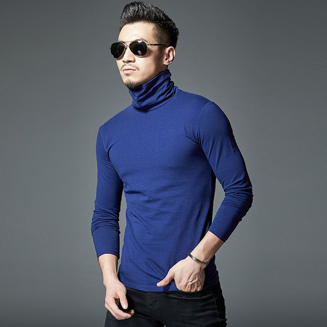 MYDBSH Brand New Design Men Slim Fit Elastic Cotton Undershirt Male Long Sleeve Turtleneck Thermal Shirt Mens Thermal Underwear
