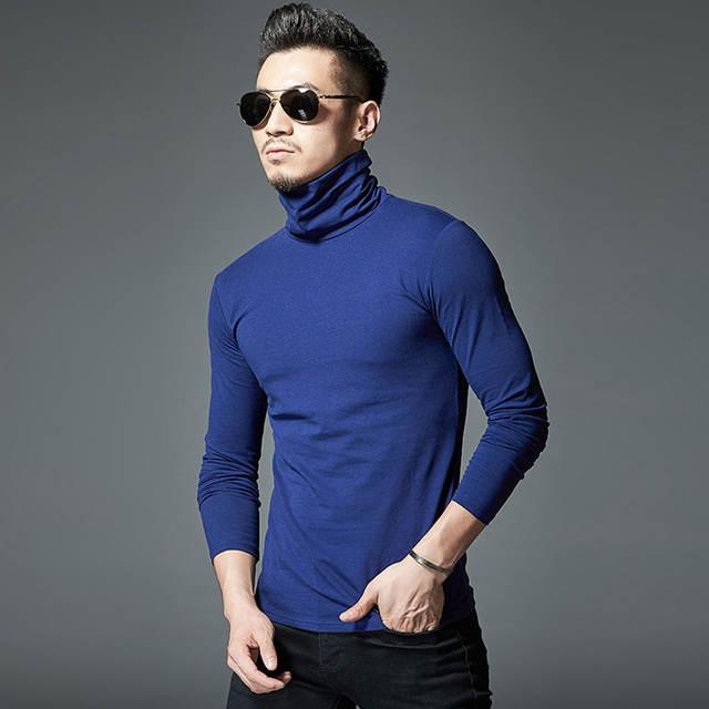 MYDBSH Brand New Design Men Slim Fit Elastic Cotton Undershirt Male Long Sleeve Turtleneck Thermal Shirt Mens Thermal Underwear