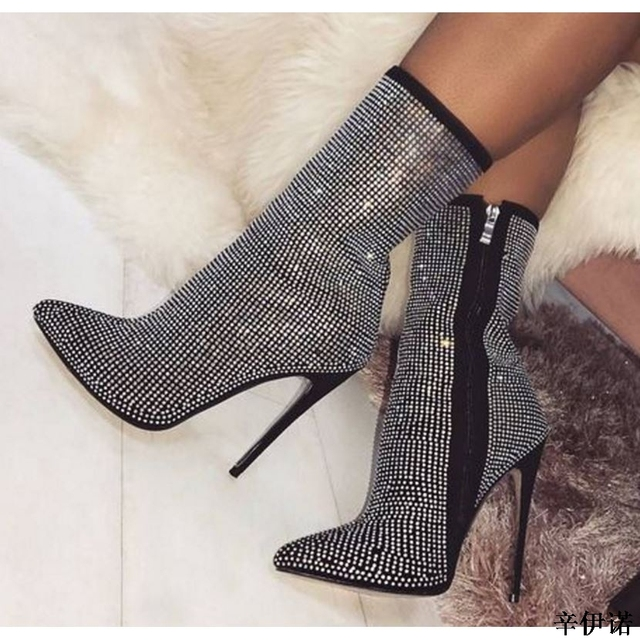 198e22fef Nueva moda de diamante blanco tacones altos y botas de mujer y zapatos para  zapatos de