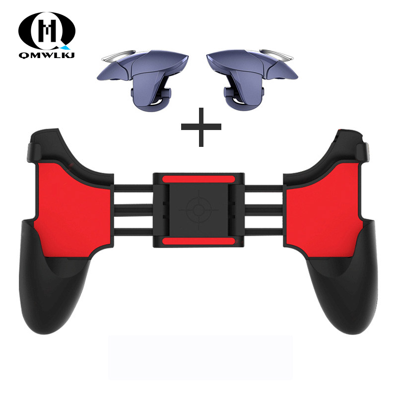 2 In 1 Mobile Phone Game Controller For PUBG Mobile Trigger Gamepad Gaming Fire /Aim Key Button L1R1 Shooter Joystick
