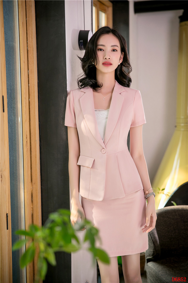 4cccd0447ca7 Women Business Suits 2 Piece Skirt and Top Sets Blue Jacket Short Sleeve Office  Ladies Work Wear Beauty Salon UniformsUSD 33.18 set