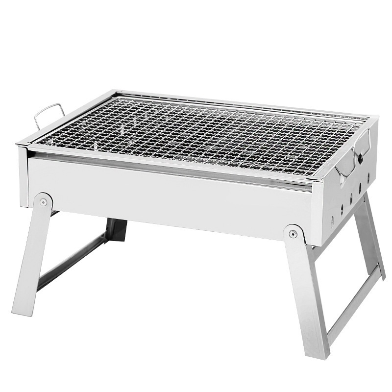 1Pcs Stainless Steel Foldable Portable BBQ Grill Bakery Outdoor Charcoal Tool Multi-function Universal Barbecue Accessories