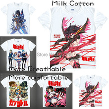 2015 Men's Unique Anime T-shirt 3d Print Kill la Kill Ryuko Matoi Goku Short Sleeve Casual Cosplay T Shirt Camisetas Masculina