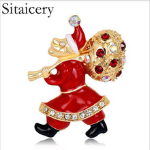 Sitaicery New Year Fashion Christmas Brooch Cute Santa Claus Crystal Rhinestone Jewelry For Color Stone