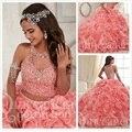Elegante vestido de baile duas peças vestido quinceanera 2016 princesa ruffled cristal barato organza mangas sweet 16 vestido
