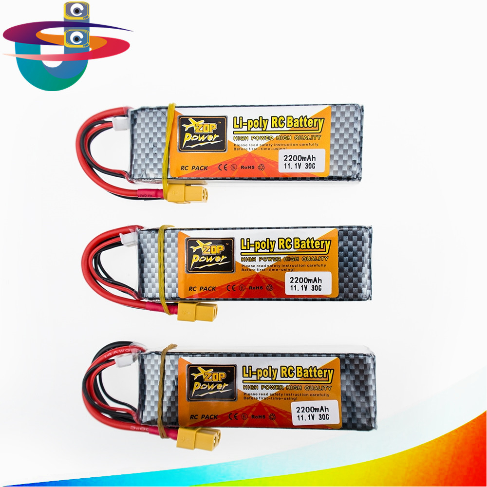 3PCS ZOP Lithium Lipo Battery 11.1V 2200Mah 3S 30C Max 35c XT60/T Plug For RC Helicopter Qudcopter Drone Truck Car Boat 2pcs t plug 5200mah 11 1v 3s 30c lithium li po battery for diy racing rc helicopter qudcopter drone truck car boat parts
