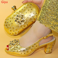 doershow good gold Italian Matching Shoes And Bag Set African Style Ladies red Shoes And Bag To Match For Wedding Dress!SHM1 9