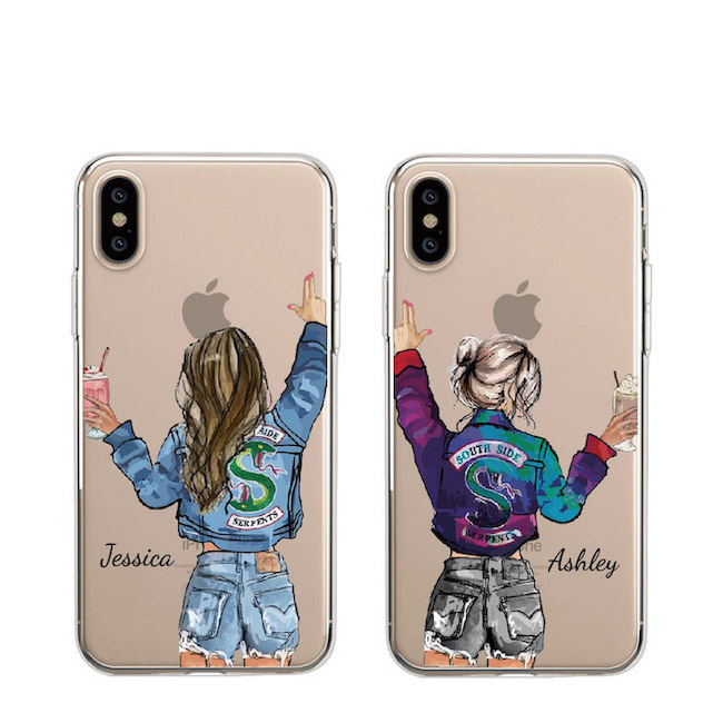 Custom Personalised Name Travel <font><b>BFF</b></font> Best Friend Girl Mobile Phone Soft Transparent Case For iPhone 11 Pro Max XS Max XR X 8Plus image