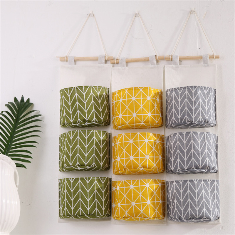Simple Lattice Hanging Storage Bag Cotton Linen 3 Pockets Wardrobe Hang Wall Pouch Cosmetic Kids Toy Organizer Household
