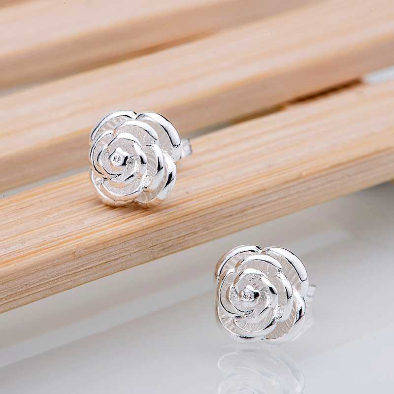 flower classic stacked silver plated earrings 925 jewelry for women silver earrings WXZNYDTL