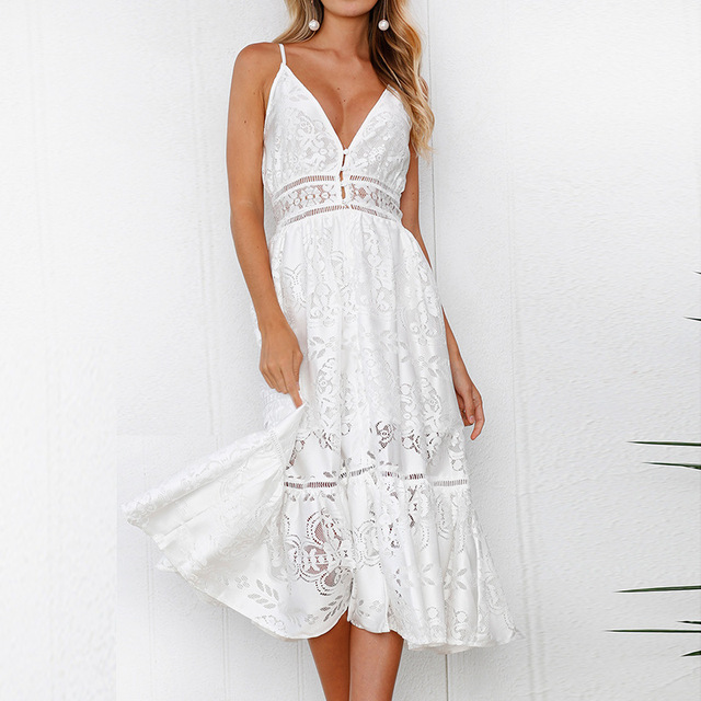 1fdf3cf0fd6 Lossky Summer Spaghetti Strap Wrapped Chest Women s Dress 2018 Sexy White  Lace Backless Dress Women s Loose