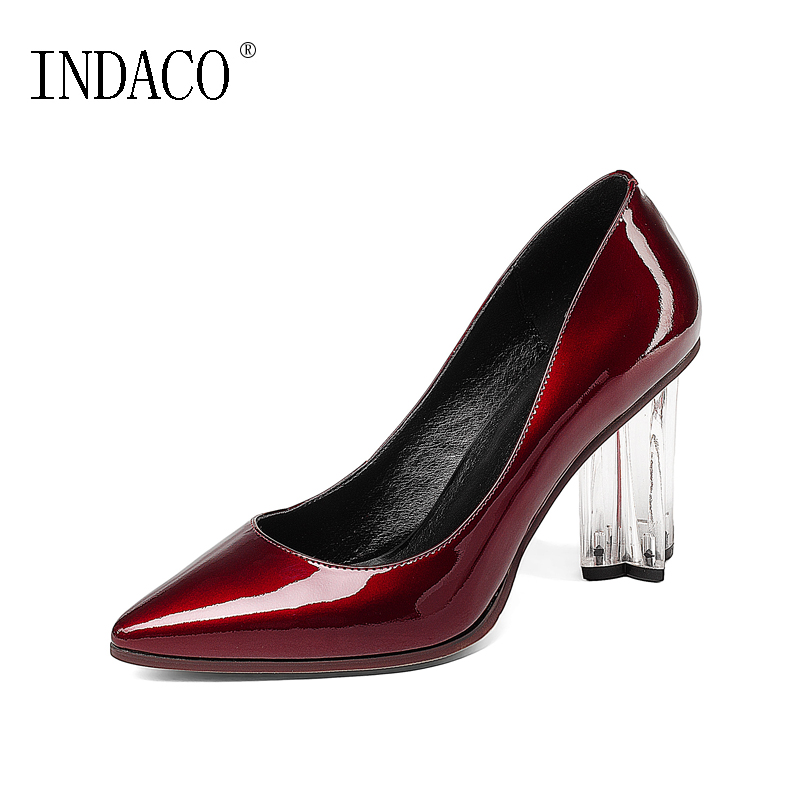 New Leather Burgundy Black Pumps Crystal High Heel Wedding Party Shoes 8.5cm Zapatos Mujer Tacon