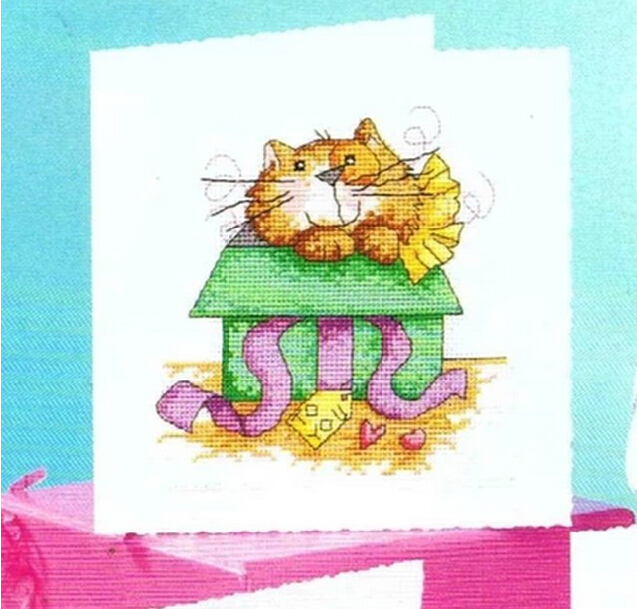 FREE Shipping Top Quality popular DIY cross stitch greeting card cat