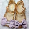 Mini melissa sandalias de los niños 2016 nuevo párrafo paño arco sandalias de la muchacha zapatos zapatos de la princesa mini melissa jalea zapatos para niñas