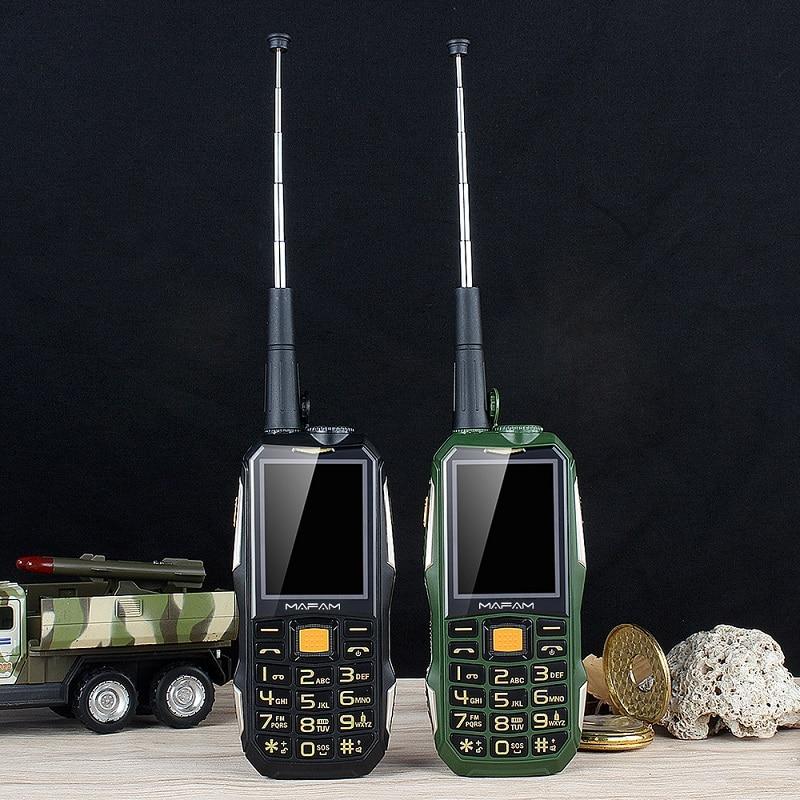 Desbloquear mafam m2 + áspero telefone móvel ao ar livre à prova de choque com uhf ferragem intercomunicador walkie talkie cinto clipe powerbank facebook