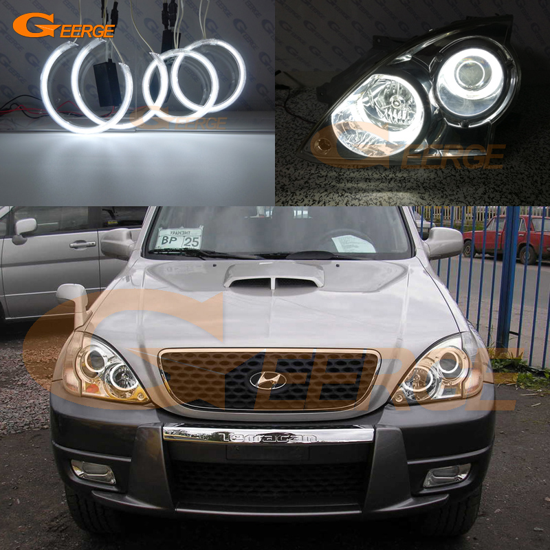 For Hyundai Terracan 2001 2002 2003 2004 2005 2006 2007 Excellent CCFL Angel Eyes Ultra bright illumination Angel Eyes kit for mazda 3 mazda3 2002 2003 2004 2005 2006 2007 ultra bright day light drl ccfl angel eyes demon eyes kit warm white halo ring