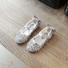 Autumn New kids girls leather shoes with Rhinestones shining princess for girl Dance Party Shoes children baby