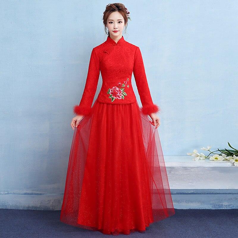 Bride Red Long Sleeve Cheongsam Cotton China Wedding Qipao Traditional Chinese Dress Robe Chinoise Vestidos Oriental Dresses QL
