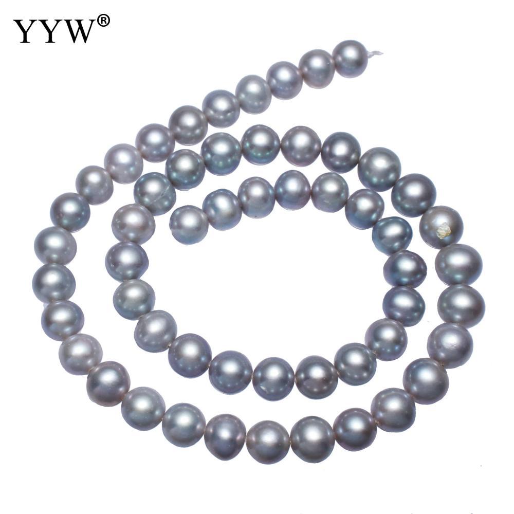 Cultivadas de Água Vendido por 15.7 Alta Qualidade Batata Doce Pérola Beads Cinza 8-9mm Aproximadamente 0.8 Milímetros Polegada Vertente Yyw Aaa
