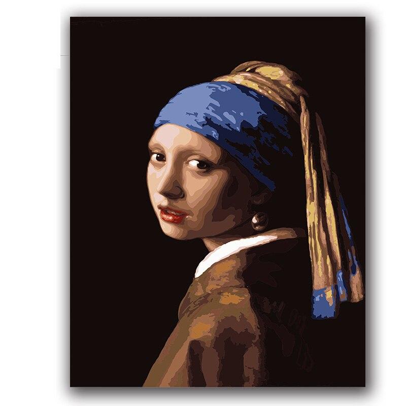 Colorings peintures par numéros bout vermeer fille avec perl erring photos pintes pour chambre d'hôtel wll décor