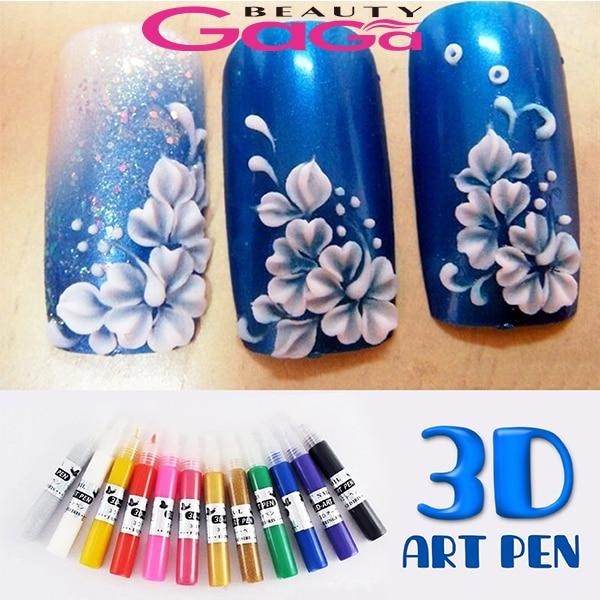 12 Colors 3D Acrylic Pigment Nail Polish Pen Solid Glitter Gel Nail ...