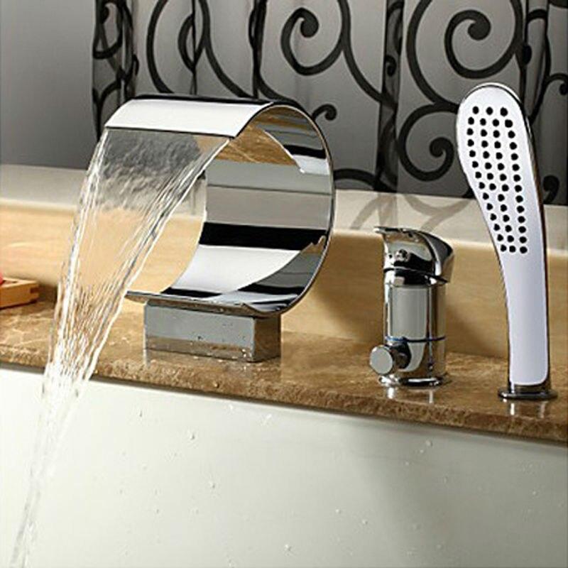 Bathroom Basin Mixer Waterfall Spout Tap Bathtub Faucet Set Waterfall Bathtub Faucets Valve Hand Shower Set
