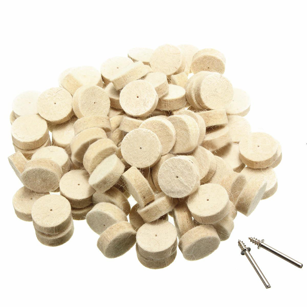 100pcs Wool Felt Polishing Buffing Round Wheel Tool + 2 Shank For Dremel Rotary free shipping drawing wheel 110 100mm drawing wool round 110mm drawing machine round tower wool polishing wheel