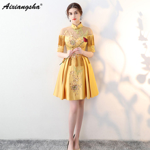 2018 New Arrival Celebrity Dresses Vestido De Festa Chinese Oriental Mini High Neck Embroidery Tassel Plus Size Short Long Dress
