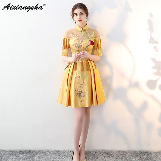 2018 New Arrival Celebrity Dresses Vestido De Festa Chinese Oriental Mini  High Neck Embroidery Tassel Plus Size Short Long Dress 1dd6482e4878