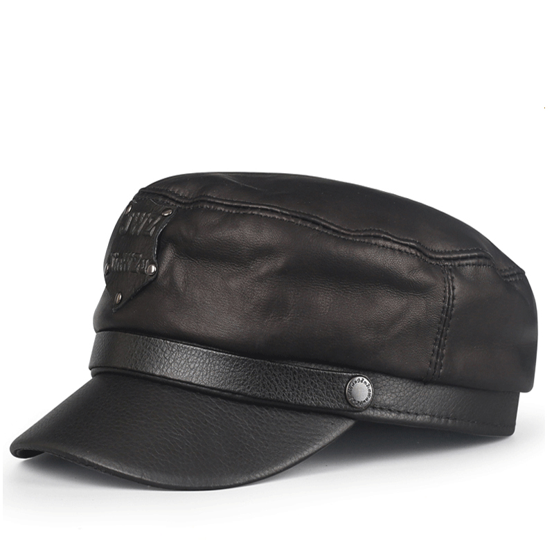 Young Student Hat Men Women's leather embossed cap in autumn and winter in Korean men and women casual fashion tide flat cap hat