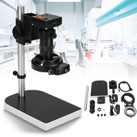 Jiguoor HDMI Digital Microscope Industryt Camera Video Zoom Lens Set Camera Zoom Lens with Stand Bracket 16MP 1080P 10X 100X