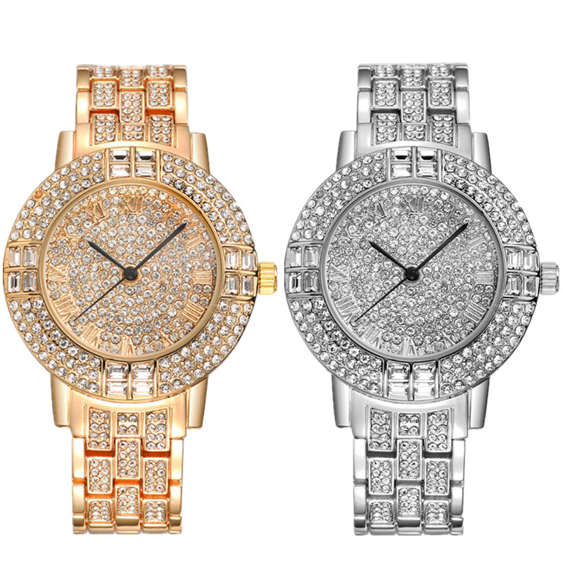 2Pcs/lot Fashion Quartz Watch Women Luxury Brand Crystal Dress Bracelet Watches Ladies Shinning Diamond Rhinestone Wristwatch 45