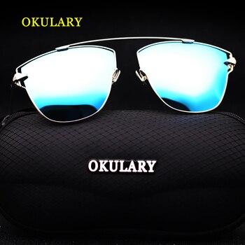 2019 Women Polarized Sunglasses Blue/Pink/Silver Lens UV400 Metal Frame Lady Sunglasses With Box