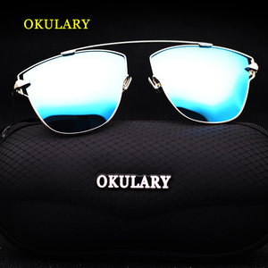 Image 1 - 2020 Women Polarized Sunglasses Blue/Pink/Silver Lens UV400 Metal Frame Lady Sunglasses With Box