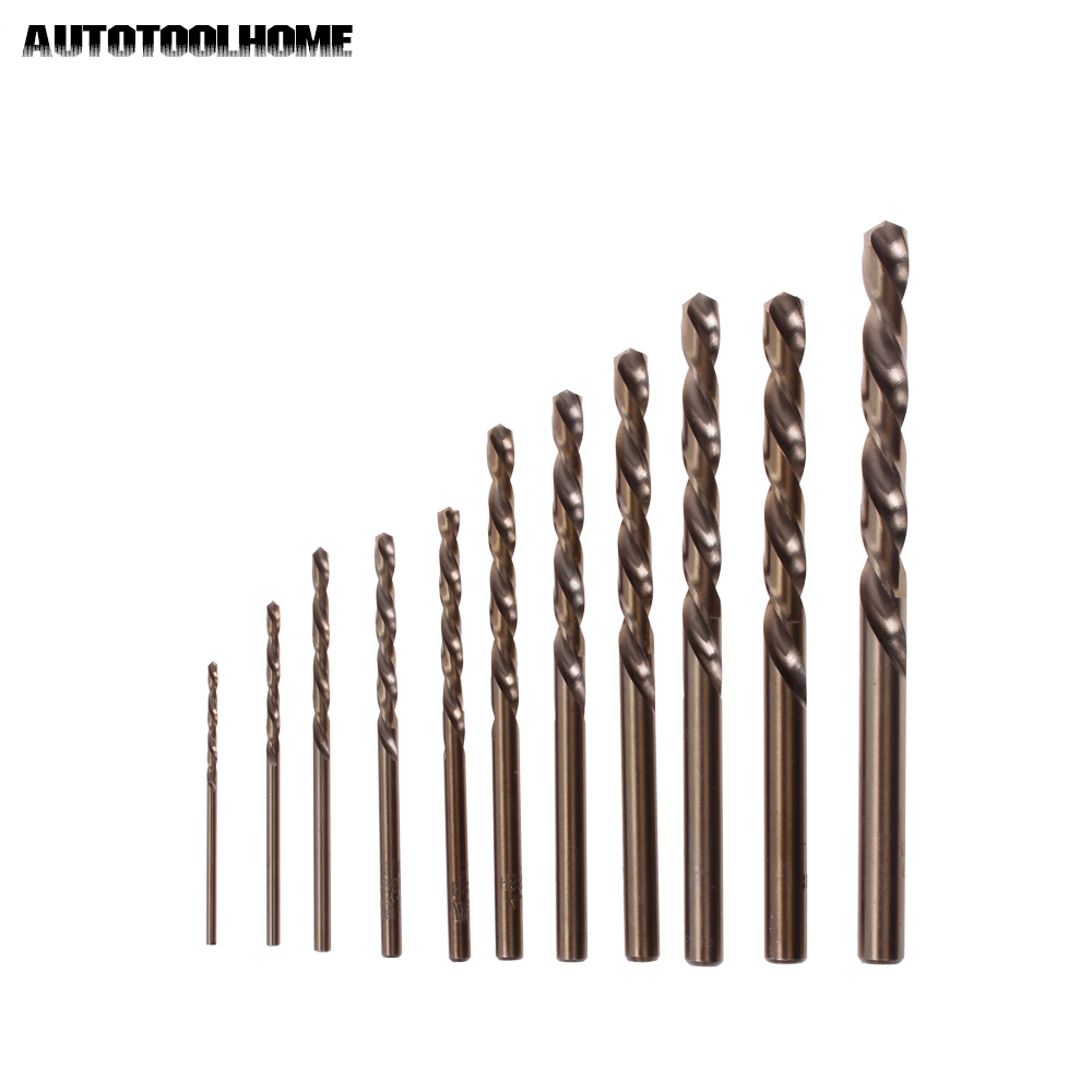 AUTOTOOLHOME 10pc HSS M35 Co Twist Drill Bit Set for Metal Stainless Steel Iron Aluminum 1.5 2 2.5 3 3.2 4 4.5 5 5.5 6 6.5mm 10pc twist drill bit set hss m35 co for metal stainless steel iron aluminum 1 5 2 2 5 3 3 2 4 4 5 5 5 5 6 6 5mm power tools
