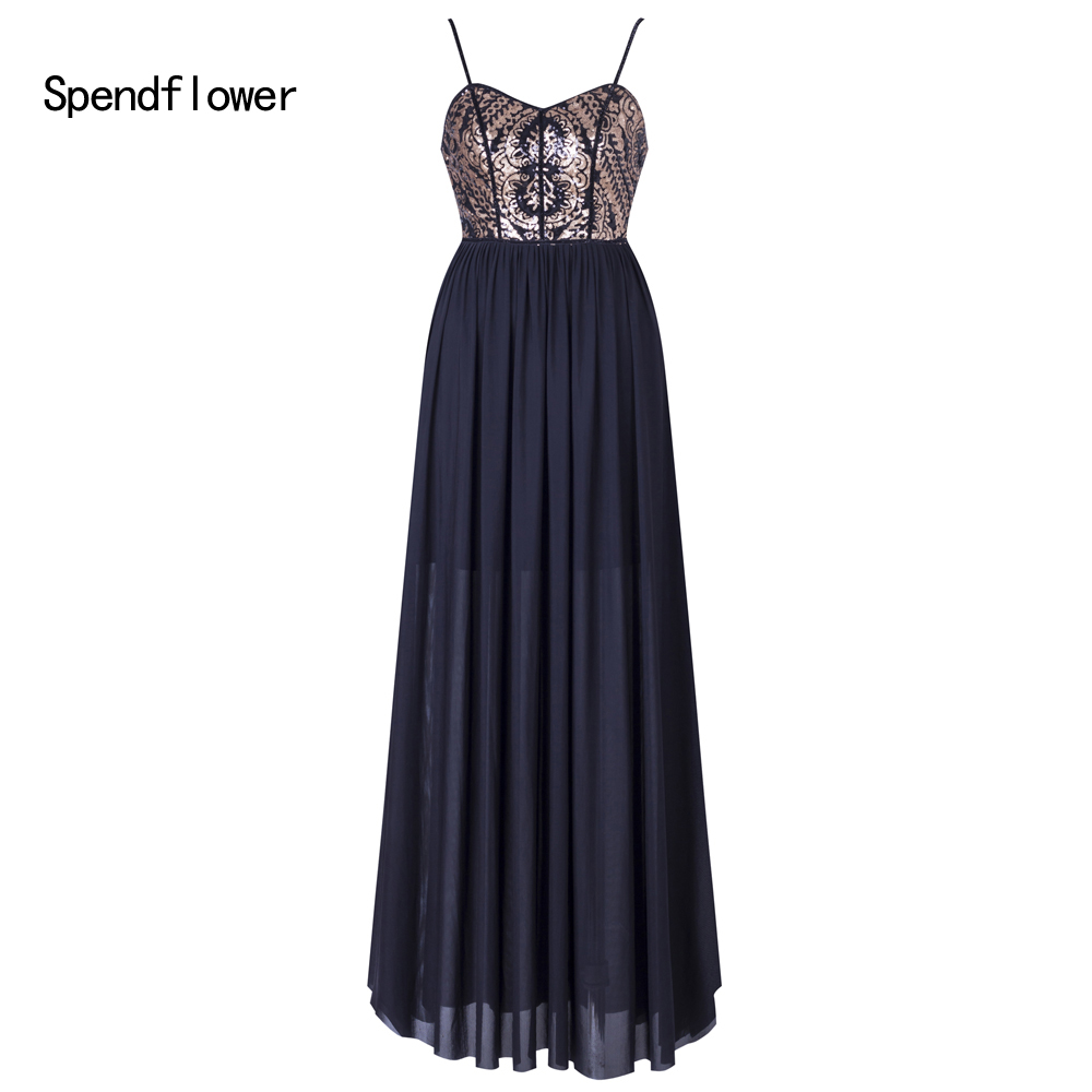 Spendflower femmes mode Spaghetti sangle doux coeur à lacets paillettes longues robes de soirée G-132BK