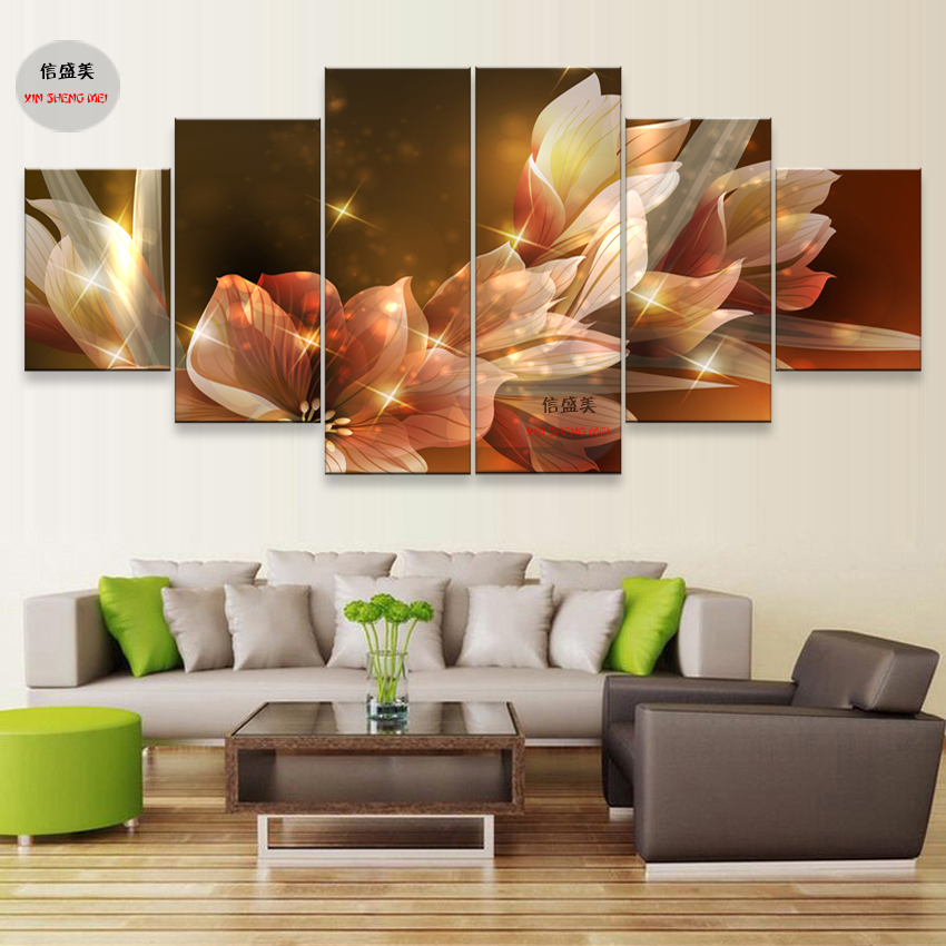 6 Stycke Modern Flower Canvas Pictures HD Print Modular Painting On - Heminredning - Foto 3