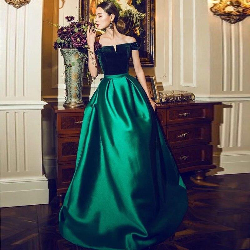 Robe de soriee 2019 Vert Longue Maxi Robes de Soirée Hors Épaule Velours Top Satin de Bal Robes de Soirée Élégante Dentelle up retour Robes