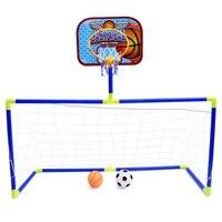Mini 2in1 Football Soccer Goal Post Net + basektball backboard Set Kids Sport Indoor Outdoor Games Toys Child Birthday Gift