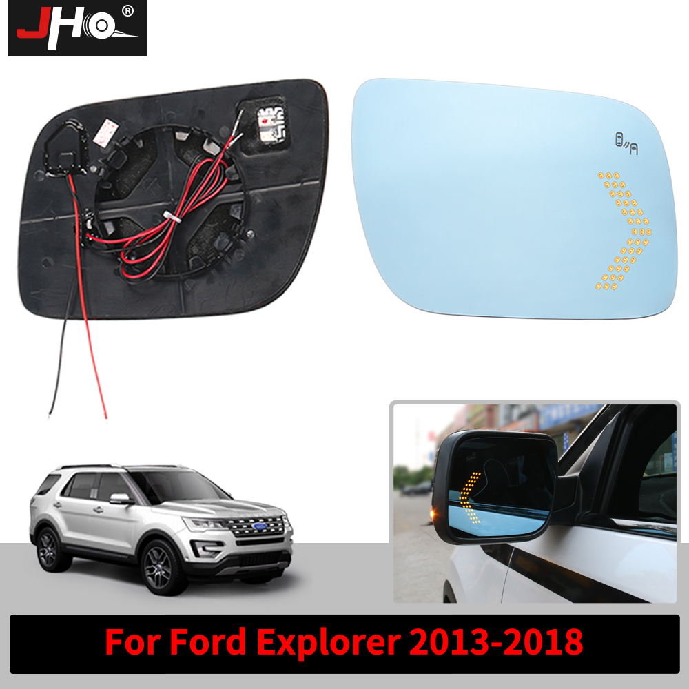 JHO Left Right Outside Heated Side Rearview Mirrors For Ford Explorer 2013-2018 2016 with LED Turn Signal Light Glass Anti-glare дополнительная фара gofl glare of light gl 0470 3311