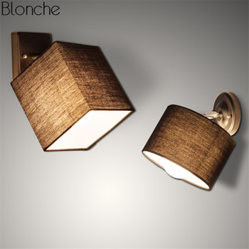 Nordic Square/Round Led Wall Lamp Fabric Lampshade Wall Lights for Living Room Bedroom Bedside Lamps Home Light Fixtures Decor