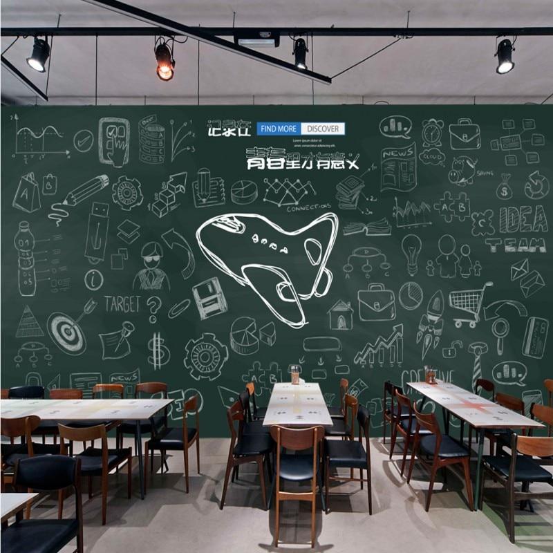 photo wallpaper Hand painted cartoon blackboard chalk graffiti tea shop campus youth background wall mural restaurant wallpaper