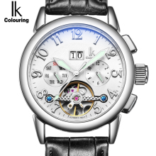 IK Week Day Date Luxury Men's watch Automatic Mechanical Watch Genuine Leather Strap Skeleton clock Sport Military reloje hombre