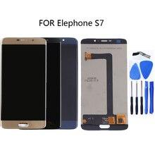 100% ทดสอบติดตามสำหรับ Elephone S7 monolithic LCD + หน้าจอสัมผัส digitizer ส่วนประกอบใหม่ 5.5 นิ้วสีดำทอง