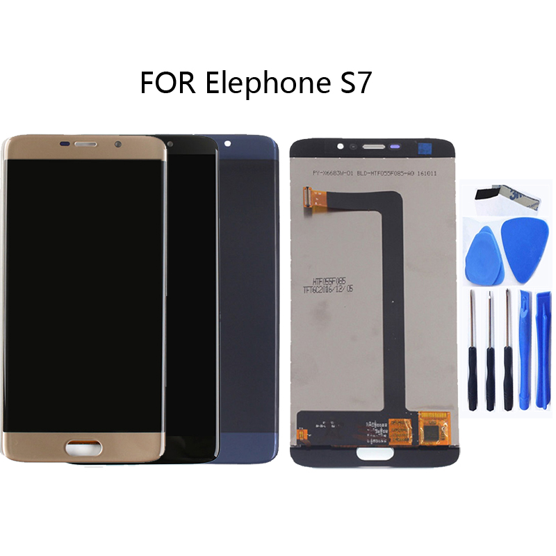 100% test tracking for Elephone S7 monolithic LCD + touch screen digitizer components New 5.5 inch black blue gold-in Mobile Phone LCD Screens from Cellphones & Telecommunications