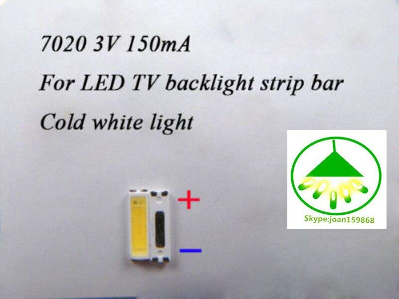 100pcs/lot 7020 3V 150MA   SMD Lamp Beads LED Bulb For LED TV Backlight Strip Repair