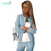 Taovk Для женщин костюмы костюм Длинные рукава куртка на молнии + длинные штаны 2 комплекты из 2 предметов