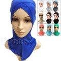Algodón musulmán Hijab Interno Completo Cover Cap Head Wear Sombrero Underscarf Islámico Colores